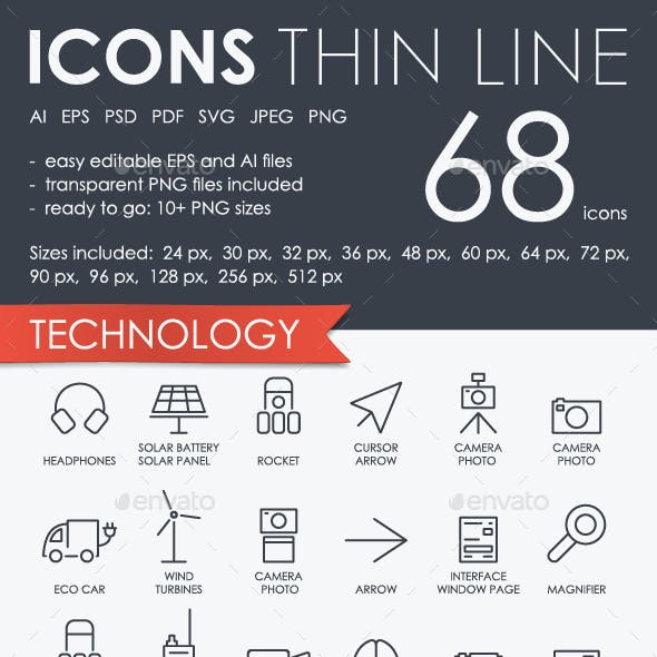 Technology thinline icons