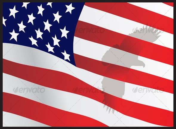 eagle shadow on american flag - Animals Characters