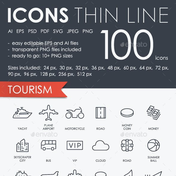 Tourism thinline icons