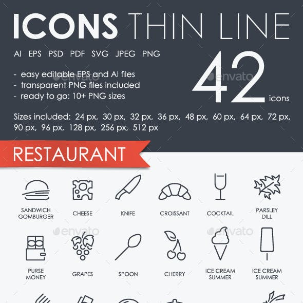 Restaurant Thinline Icons