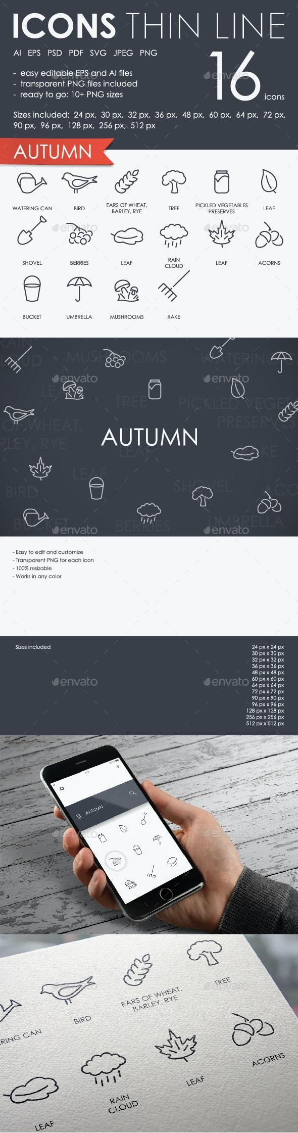 Autumn Thinline Icons - Seasonal Icons