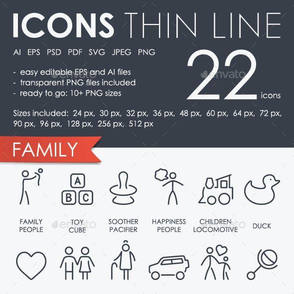 Family Thinline Icons