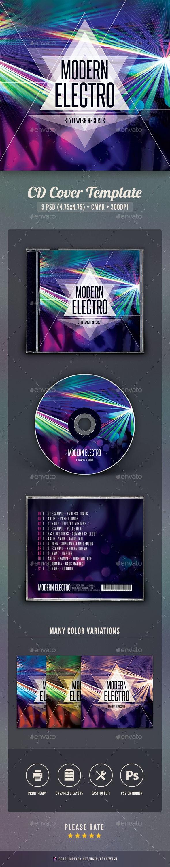 Modern Electro CD Cover Artwork - CD & DVD Artwork Print Templates