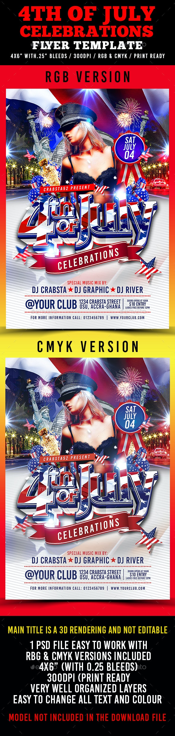 4th of July Celebrations Flyer Template - Flyers Print Templates