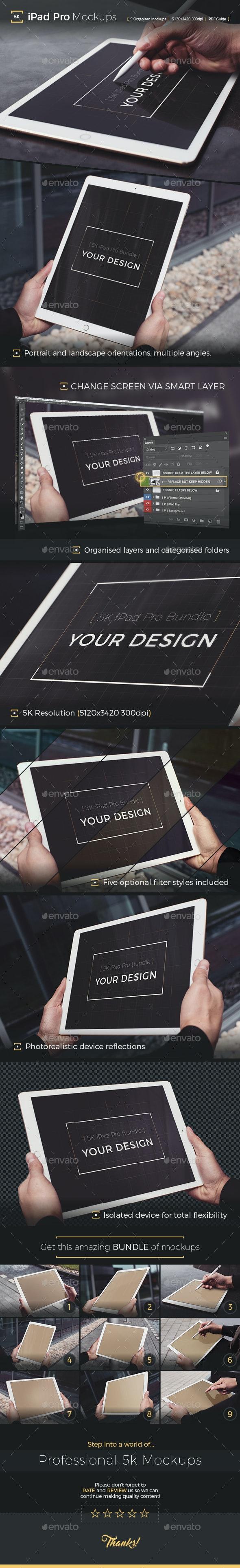 Pad Pro 5K Photorealistic Tablet Mockup - Mobile Displays