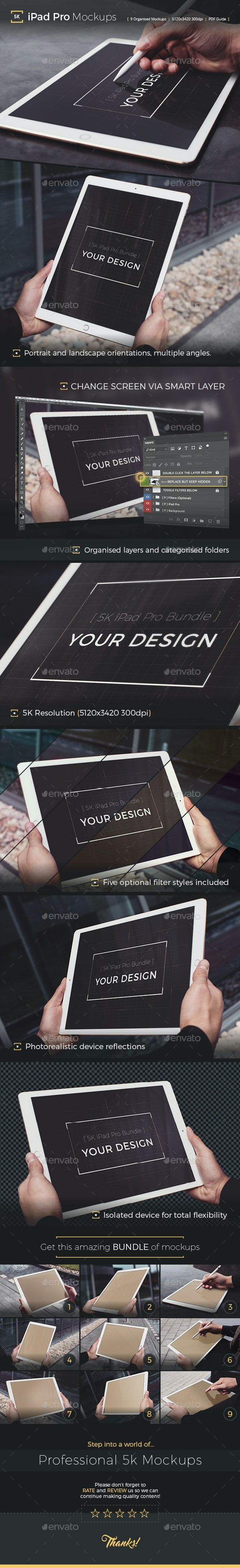 Pad Pro 5K Photorealistic Tablet Mockup - Mobile Displays