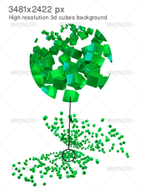 3D Reflected Cubes Background - Backgrounds Graphics