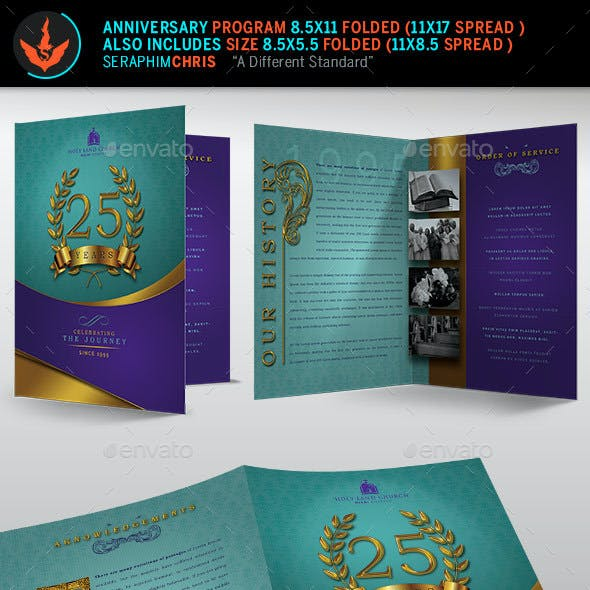 Regal Gold Lavender plus Teal Anniversary Program Template