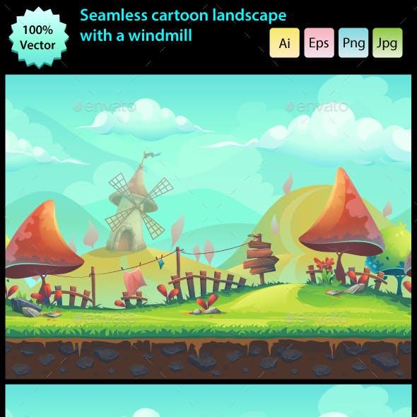Seamless Cartoon Landscape with a Windmill