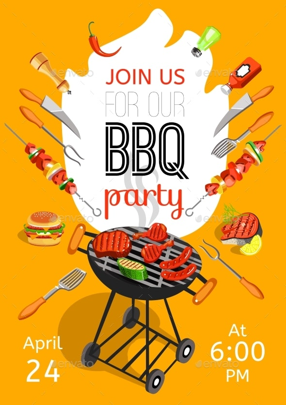 BBQ Party Announcement Flat Poster  - Food Objects
