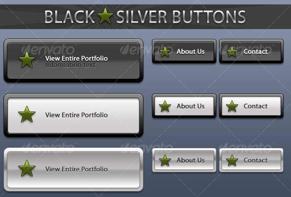 Black Silver Buttons - Buttons Web Elements