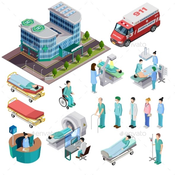 Hospital Isometric Isolated Icons