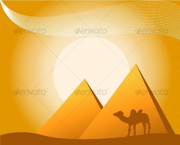 illustration of pyramids - Travel Conceptual
