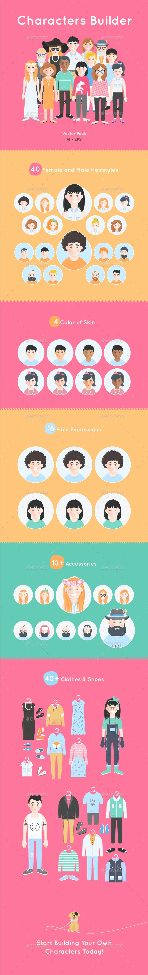 Characters Builder - Vector Pack - People Characters