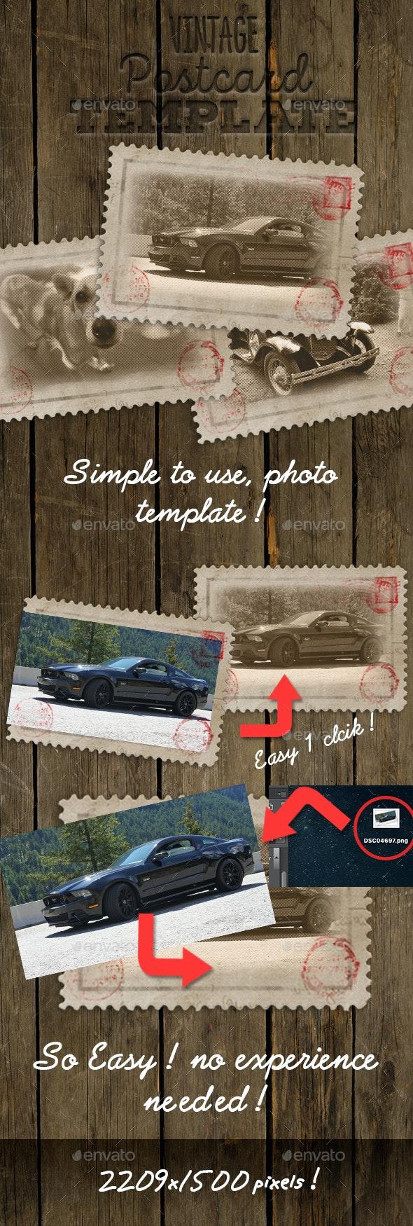 Vintage Postcard Template - Photo Templates Graphics