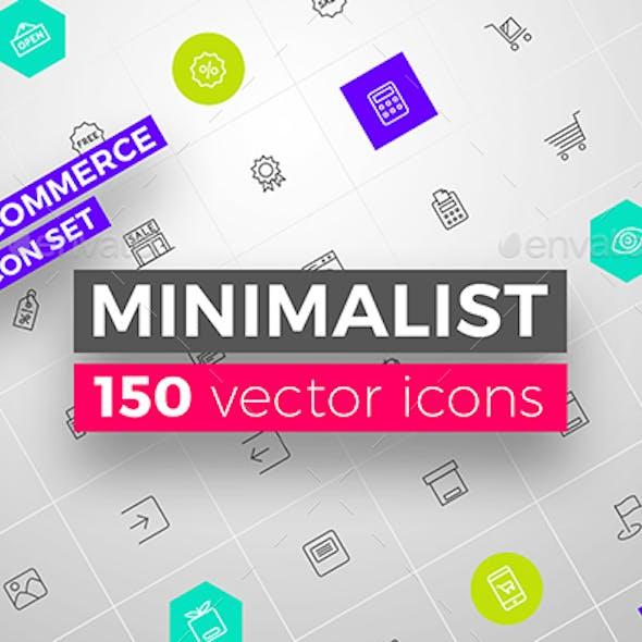 MINIMALIST E-commerce 150 Vector Icon Set