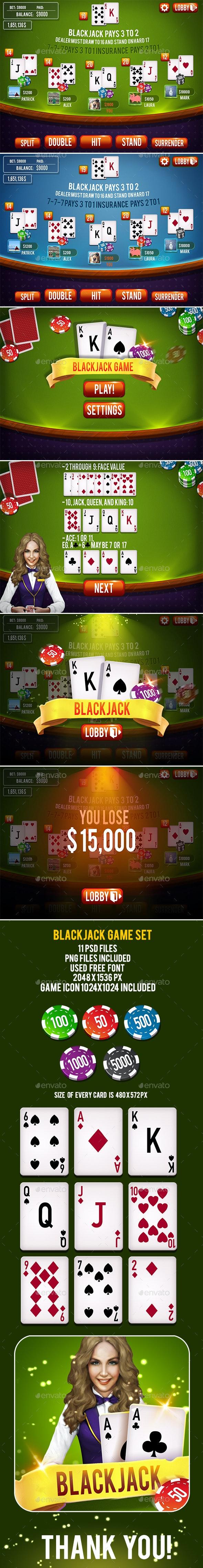 Blackjack Card Game Set By Ververver Graphicriver