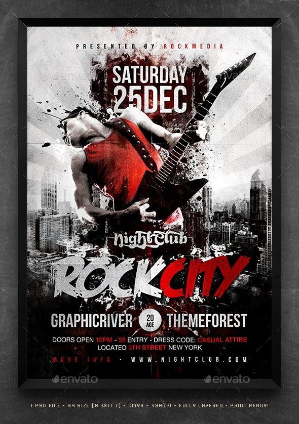 Rock City Concert Flyer / Poster - Concerts Events