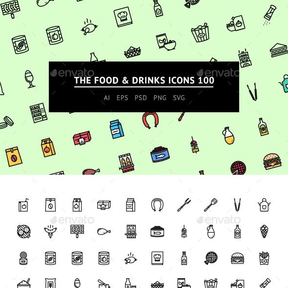 The Food & Drinks Icons 100