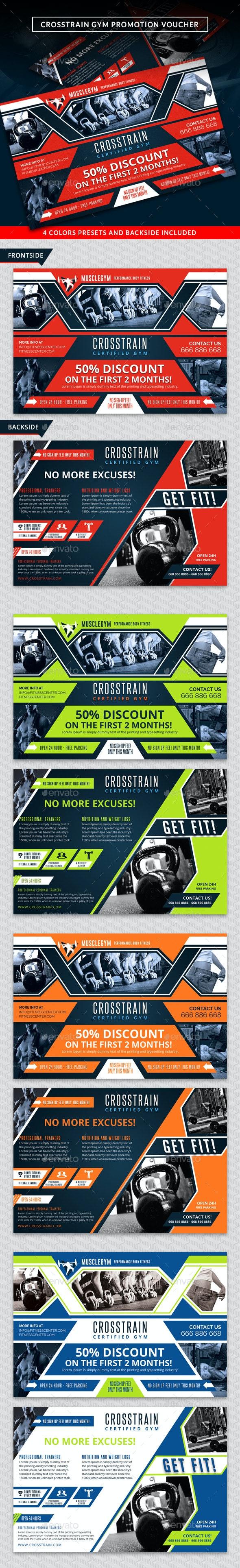 Cross Training Gym Promotion Discount Voucher - Cards & Invites Print Templates