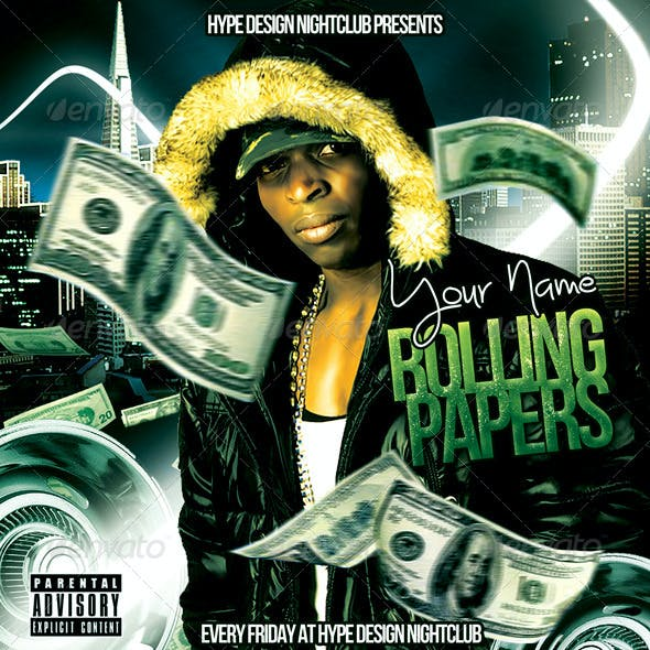 Rolling Papers Mixtape Flyer or CD Template