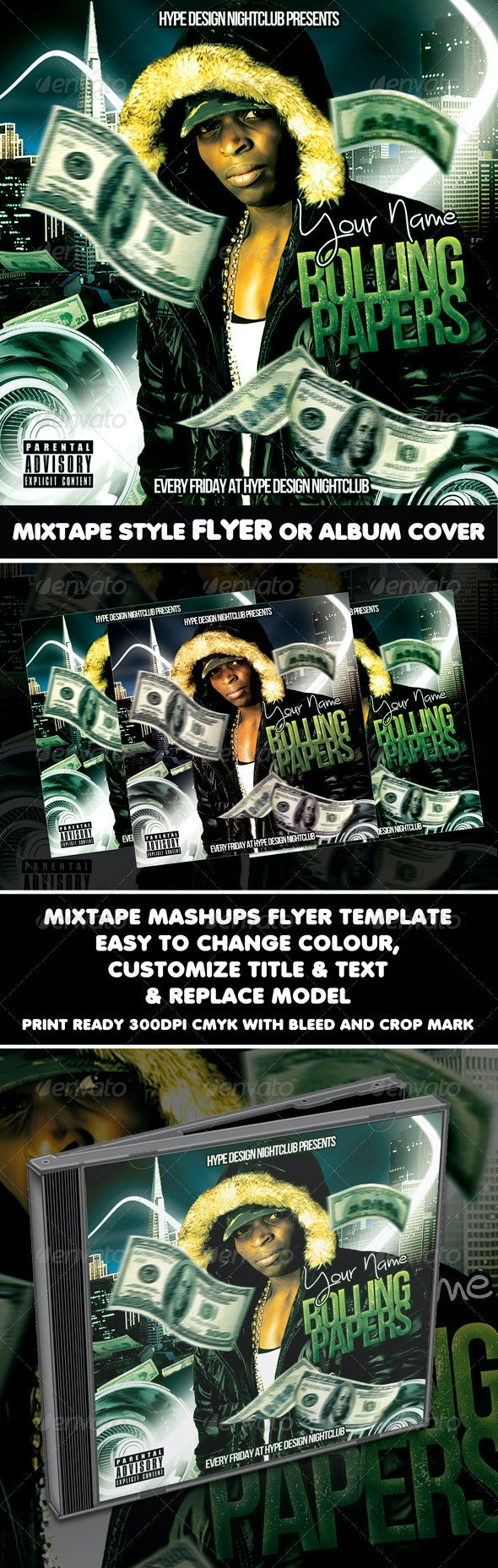 Rolling Papers Mixtape Flyer or CD Template - CD & DVD Artwork Print Templates