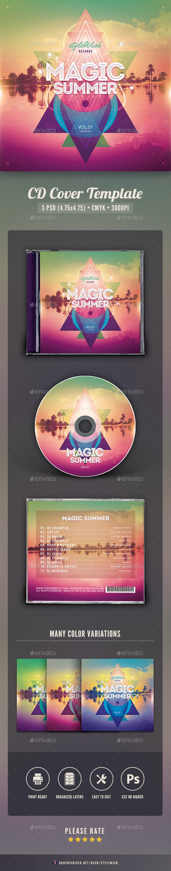 Magic Summer CD Cover Artwork - CD & DVD Artwork Print Templates