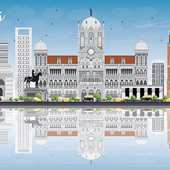 Mumbai Skyline with Gray Landmarks