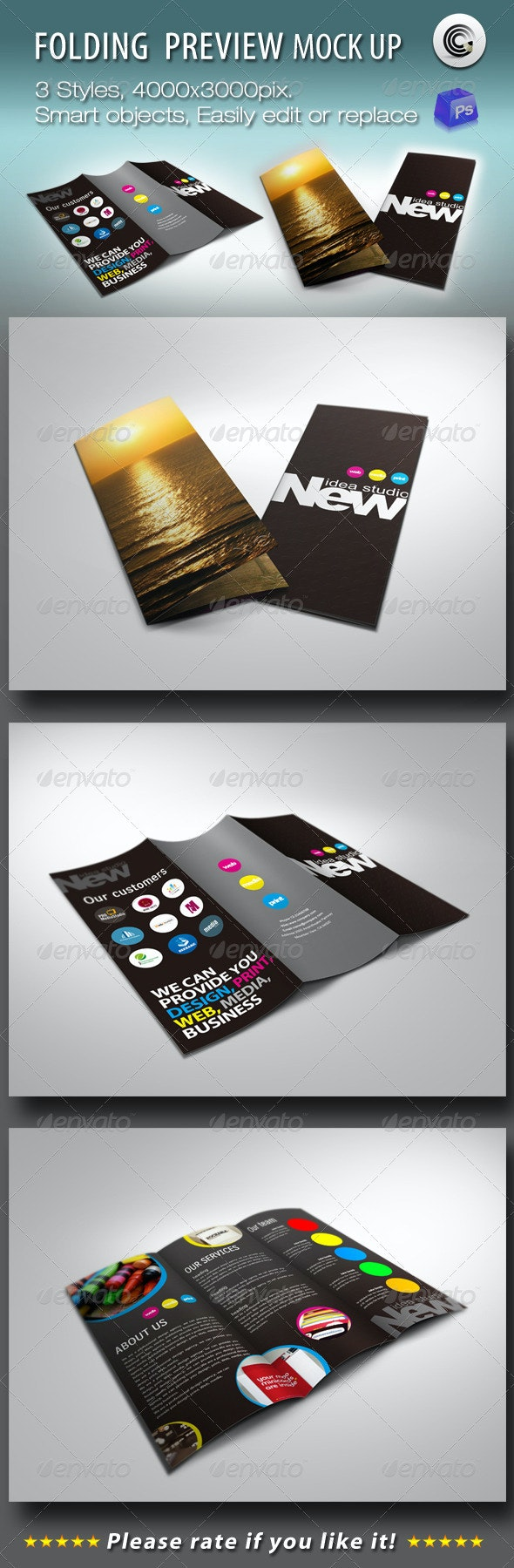 Folding Booklet Preview Mock-ups - Brochures Print