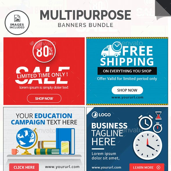 Multipurpose Banners Bundle - 10 Sets - 180 Banners - Images Included