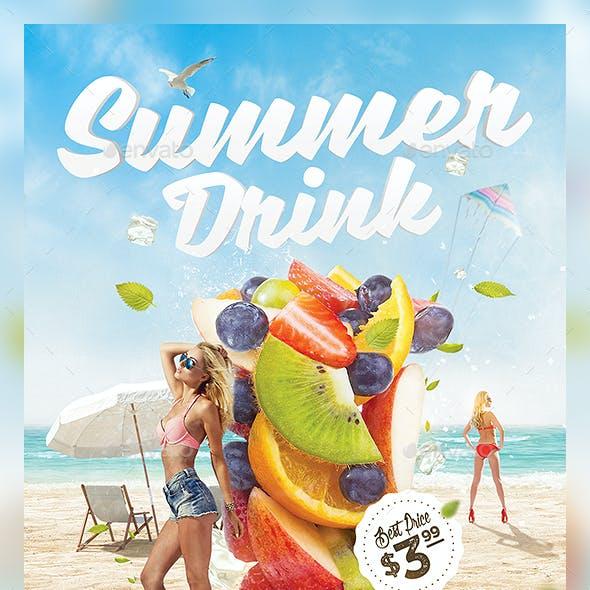 3in1 Summer Drinks Flyer Template