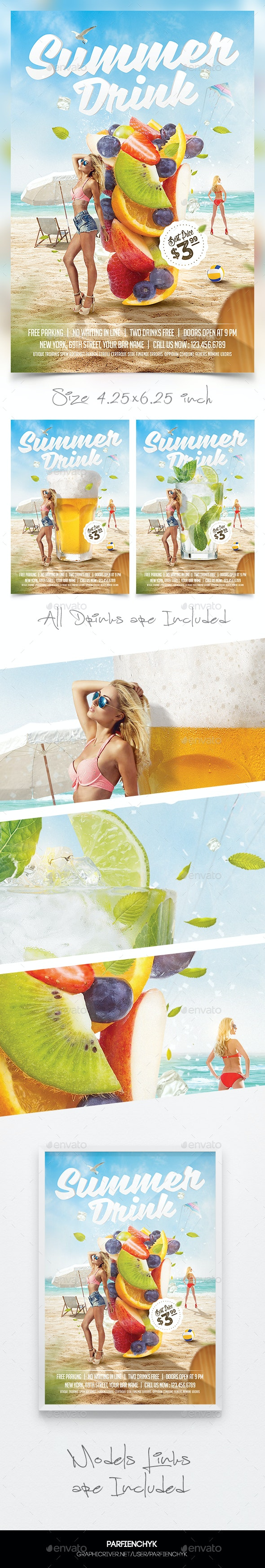 3in1 Summer Drinks Flyer Template - Clubs & Parties Events
