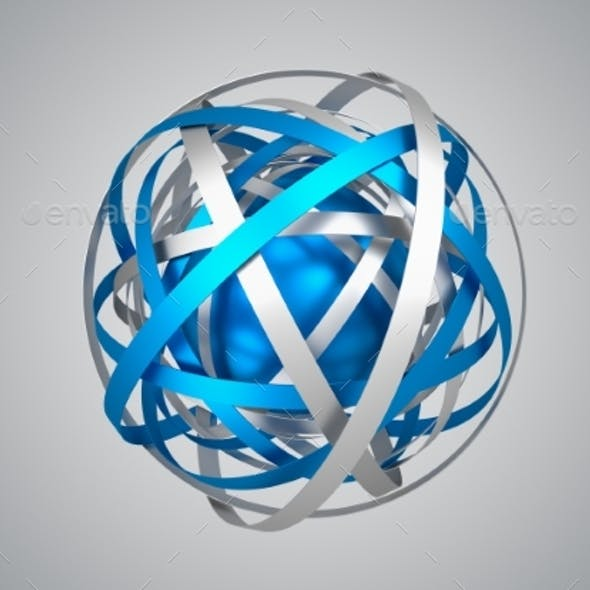 Abstract 3D Rendering Of Sphere With Rings