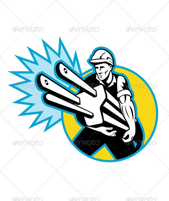 Electrician Worker Holding An Electric Plug - People Characters