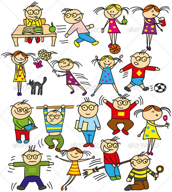 Vector Kids Have Fun - People Characters