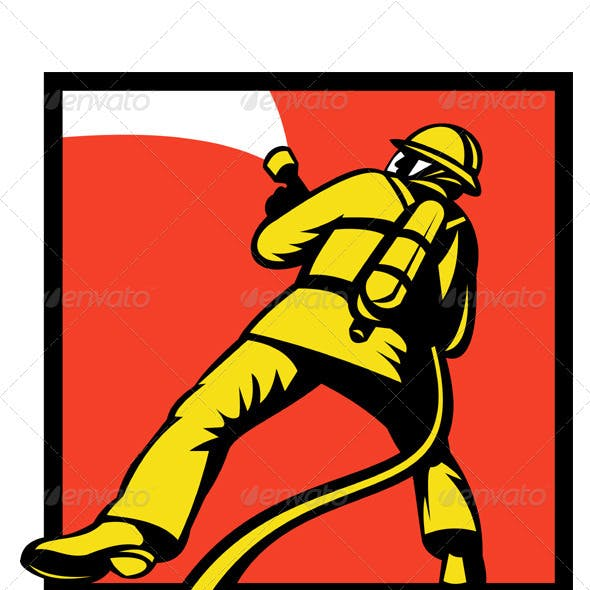 Fireman Firefighter With Fire Hose Retro