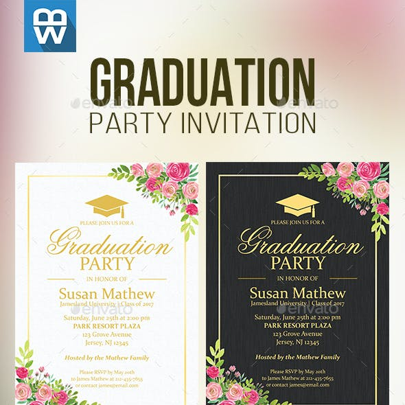 Floral Graduation Party Invitation by IndWorks