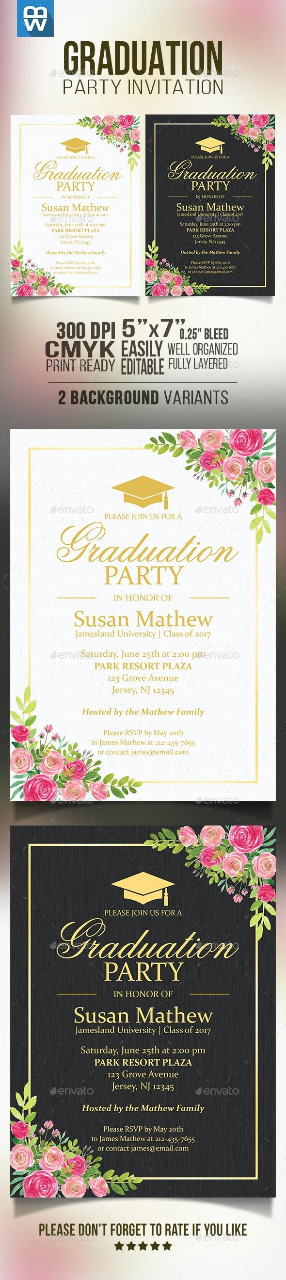 Floral Graduation Party Invitation - Cards & Invites Print Templates