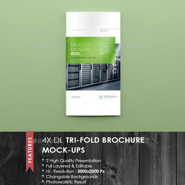 4xDL Double Gate Fold Brochure Mock-up