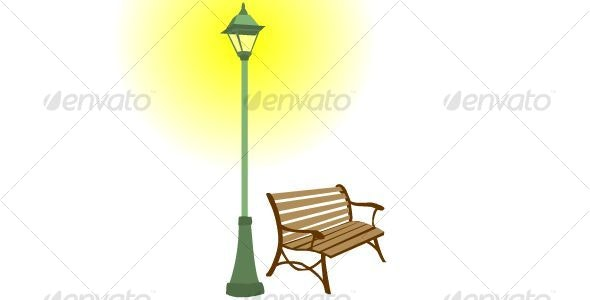 Park Bench and Light Post - Man-made Objects Objects