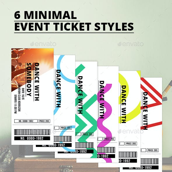 6 Minimal Event Ticket Styles