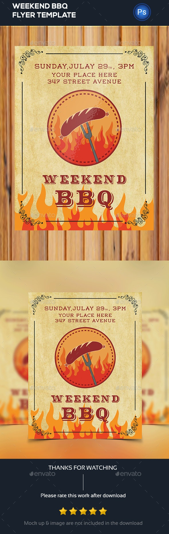 Weekend BBQ Party Flyer - Clubs & Parties Events