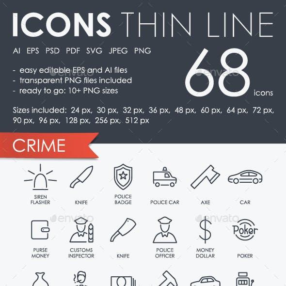 Crime Thinline Icons