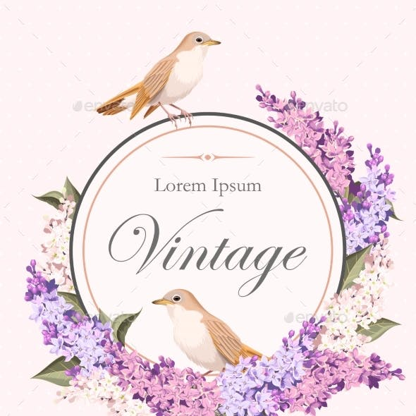 Vintage Card With Lilac And Birds