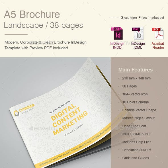 A5 Landscape Content Marketing Brochure