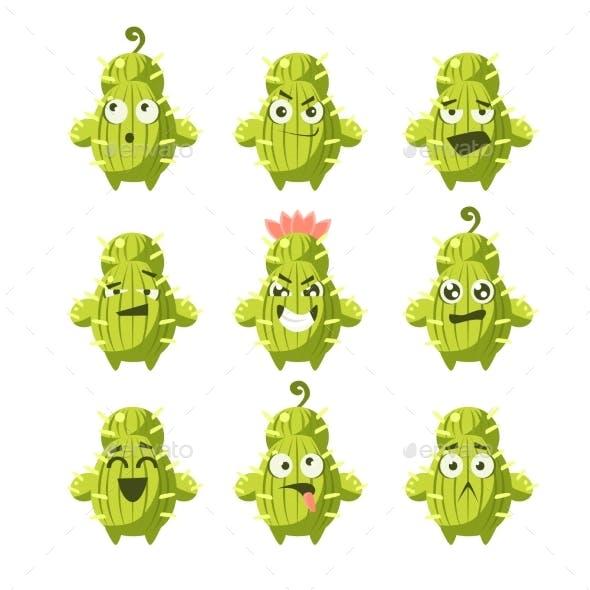Cartoon Cactus Emoji Set
