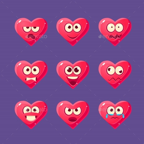 Pink Heart Emoji Character Set - Miscellaneous Characters