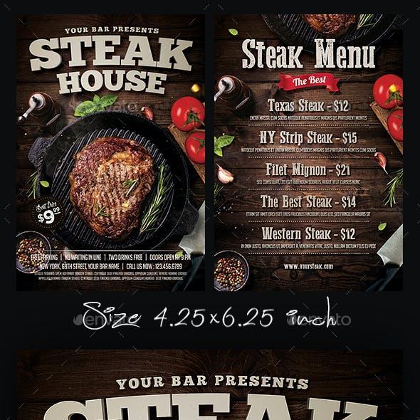Steak Bar Menu Flyer Template