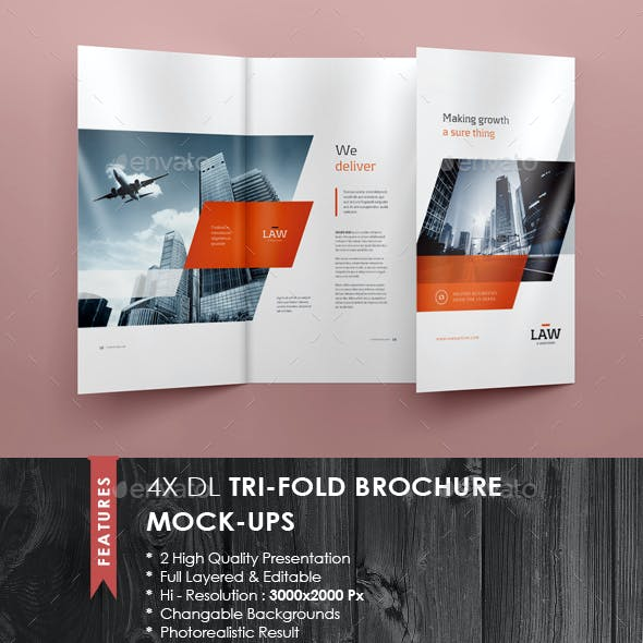 4xDL Double Gate Fold Brochure Mock-up 2