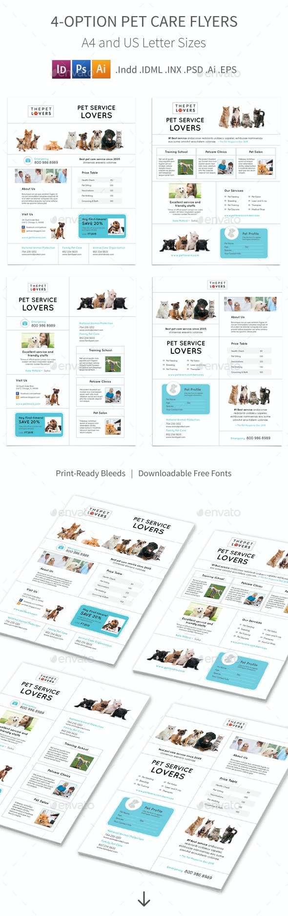 Pet Care Flyers 4 – 4 Options - Corporate Flyers